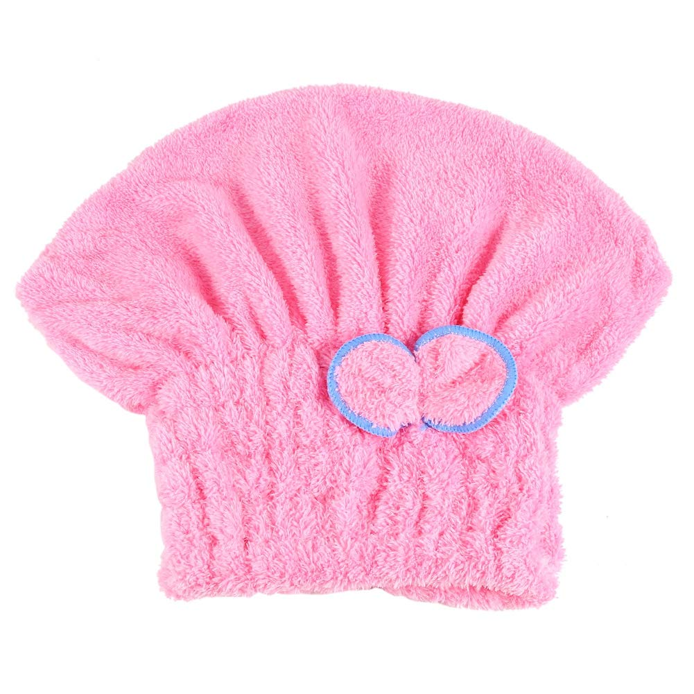 Hair Drying Hat, Bowknot Microfiber Ultra Absorbent Hair Dry Shower Cap Soft Coral Fleece Absorbent Bathing Cap (Blue) GLOGLOW