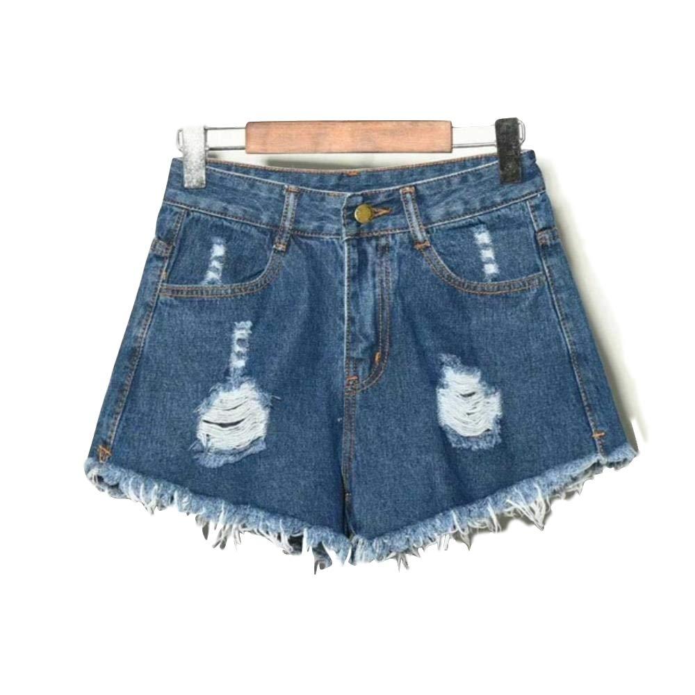 HAHAJY Moda Estate Donna Vintage strappato Lavato graffiato Foro Pantaloncini Shorts Donna in Denim