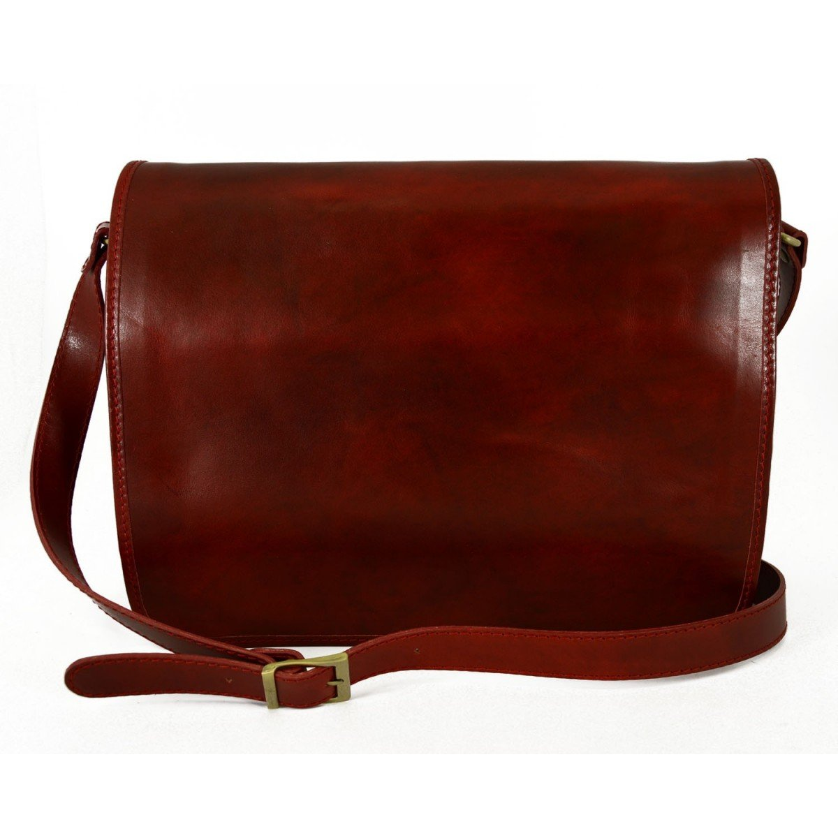 Made In Italy Leather Messenger Bag Color Red - Man Bag   B01DZ8U756