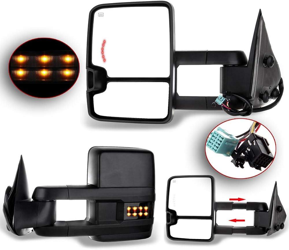 Maxiii Towing Mirrors Compatible with Chevy Silverado Tahoe Suburban Avalanche//GMC Sierra Yukon Yukon-XL Yukon-Denali//Cadillac Escalade 03-06 Black Power Heated Manual Telescoping /& Folding Tow