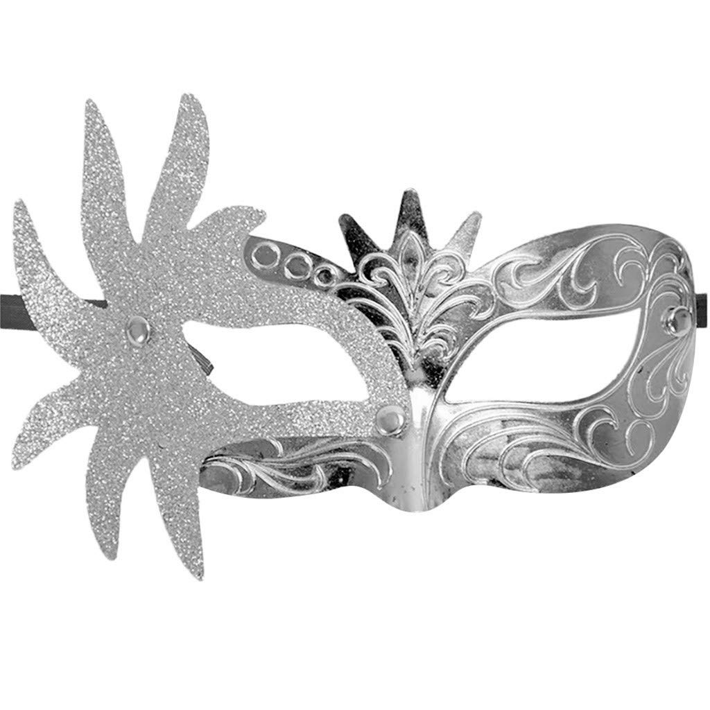 QIGUANDZ Masquerade Mask Shiny Venetian Pretty Party Evening Prom Mask Gray