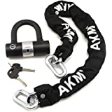 AKM Security Bike Chain Lock Heavy Duty Bicycle Lock Bike Disc Lock with 16mm U Lock,Motorbike Lock Black