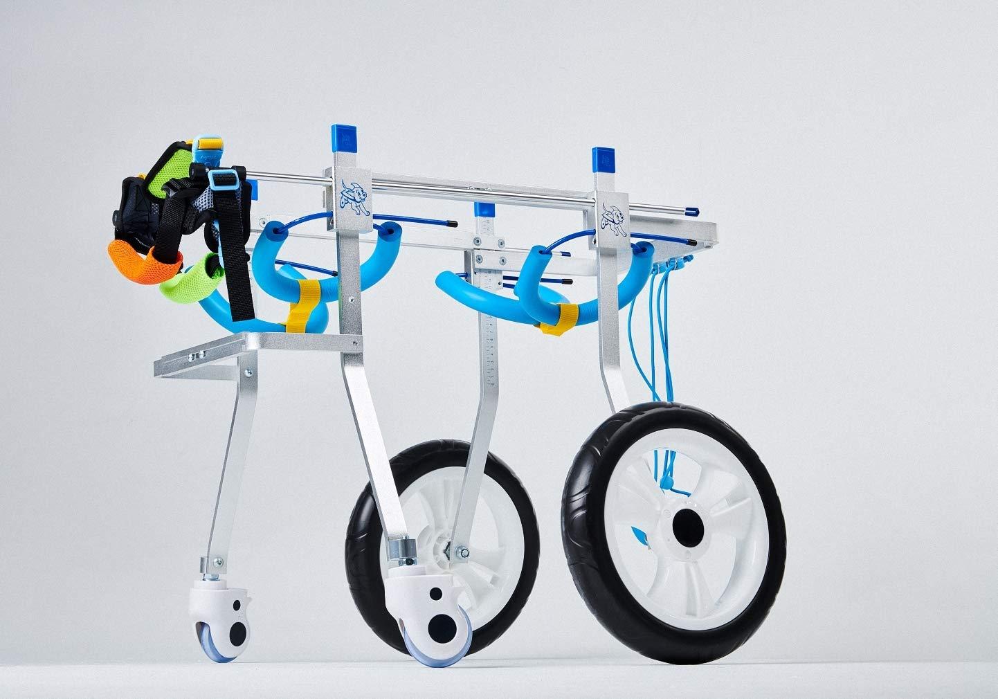 L Adjustable Dog Pet Wheelchair, Hind Leg Rehabilitation Aid for Aging, Disable, Injured, Arthritis, Weak Dog Cat Pet, 4 Wheels
