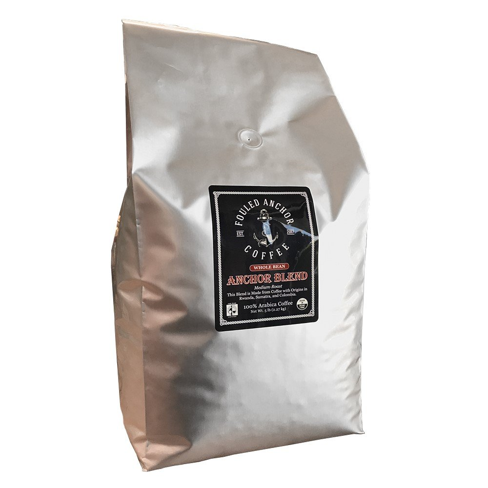 Whole Bean Organic Specialty Coffee by Fouled Anchor, Medium Roast Fair Trade, Great Tasting Small Batch Roasted, 5 lb bag by Fouled Anchor Coffee