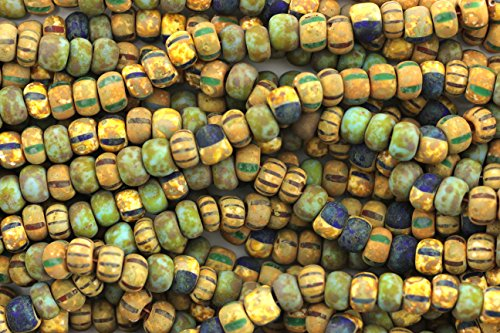(Aged Striped Seed Beads,Striped Picasso Mix Seed Beads,2/0)