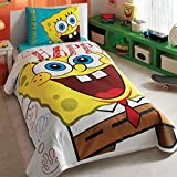 Sponge Bob Single/Twin 100% Cotton Bedding Quilted Bedspread/Coverlet Set 3 Pcs