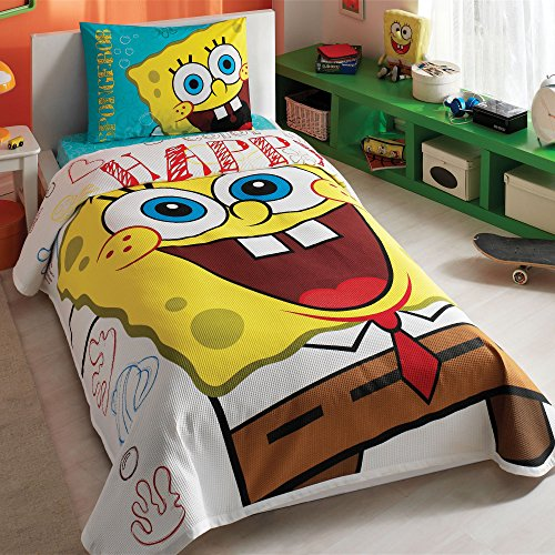 Sponge Bob Single/Twin 100% Cotton Bedding Quilted Bedspread/Coverlet Set 3 - Sheets Spongebob