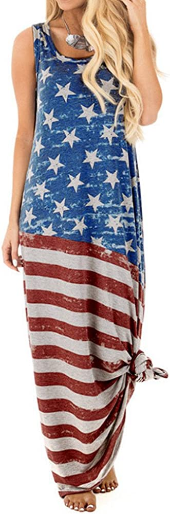 Women Dress Long American Flag Dress for Women Flag Printed Dress Round Neck Sleeveless Tank Beach Maxi Sundres