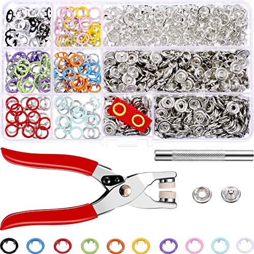 Buckle Press - Jovitec 200 Sets Snap Fasteners Romper Snaps Craft Pliers Tool Prong Buckle Metal Ring Button Press Studs Sewing Craft 9.5 mm, 10 Colors