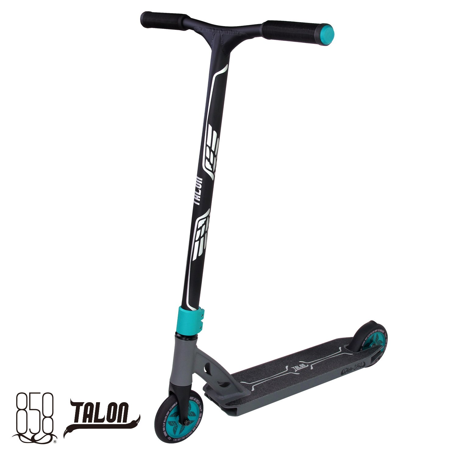 Talon Scooter Light + Strong With Heat Treated Patent Reinforced Aluminium Bar, 120MM Hollow Core Wheels With Fully Integrated Head Set For The Ultimate Performance By Ride 858 (MATTE TEAL/GUN GREY)