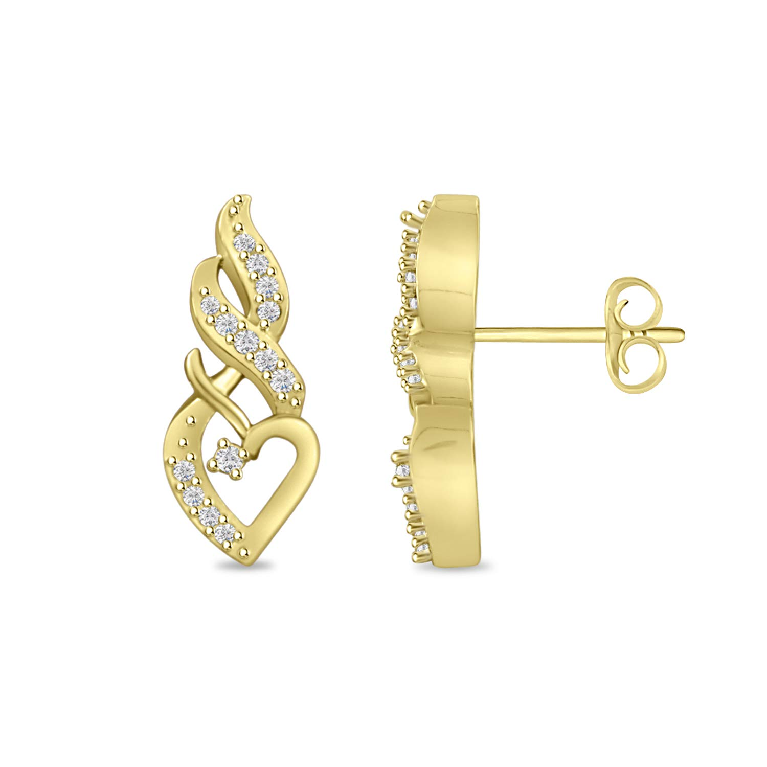 Round Cubic Zirconia Heart Infinity Stud Earrings for Women Girls in 14k Gold Over