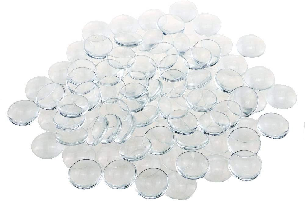 Acmer 100 Pieces Transparent Glass cabochons, Clear Glass Dome cabochon, Non-calibrated Round 1 inch/25mm for Photo Pendant Craft Jewelry Making