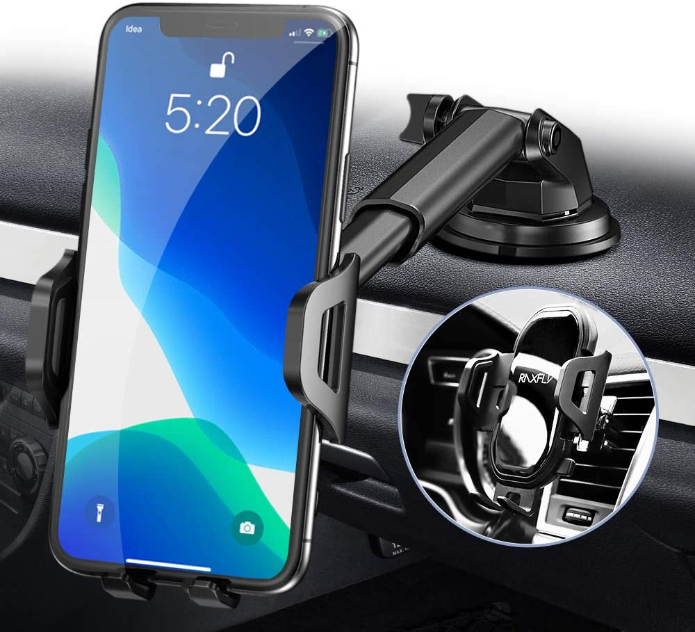 RAXFLY Dashboard Cell Phone Holder for Car Universal Anti-Slip Silicone Suction Pad Dashboard Mount Stand Compatible with iPhone 11 Samsung S20 S10 Plus All Smartphones Phone Car Holder Mount
