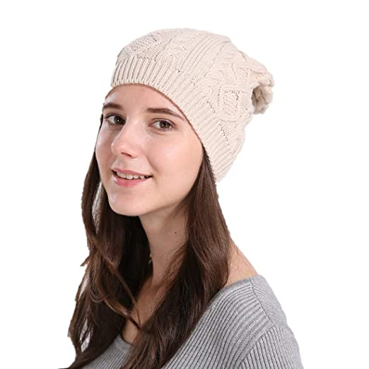 CAPIN Warm   Stylish Skull Beanie Hats Thick Soft   Chunky Cable Knit Cap  for Women 72026de1871b