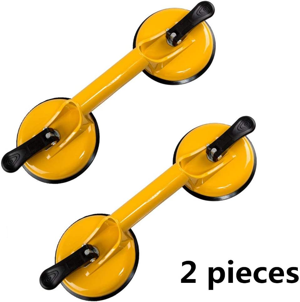 Qadira Glass Suction Cups to Lift Large Glass Heavy Duty Aluminum Double Vacuum Plate Handle Tile Lifter Gripper Puller/Floor Gap Fixer/Moving Glass/Pad for Lifting(2 Pieces Pack)