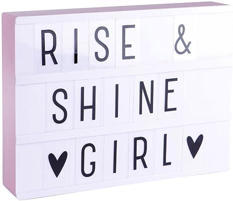 Lightbox A4 – recinto luminosa blanco & rosa + 85 letras y símbolos H21 cm – Lámpara de mesa a little lovely Company designé par: Amazon.es: Iluminación