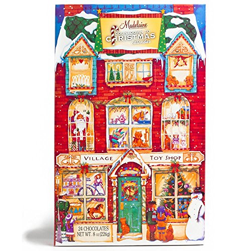 Madelaine Chocolates Christmas Countdown Advent Calendar, Filled With Solid Premium Milk Chocolate Presents Hiding Behind Victorian Village Toy Shop - 1 Pack