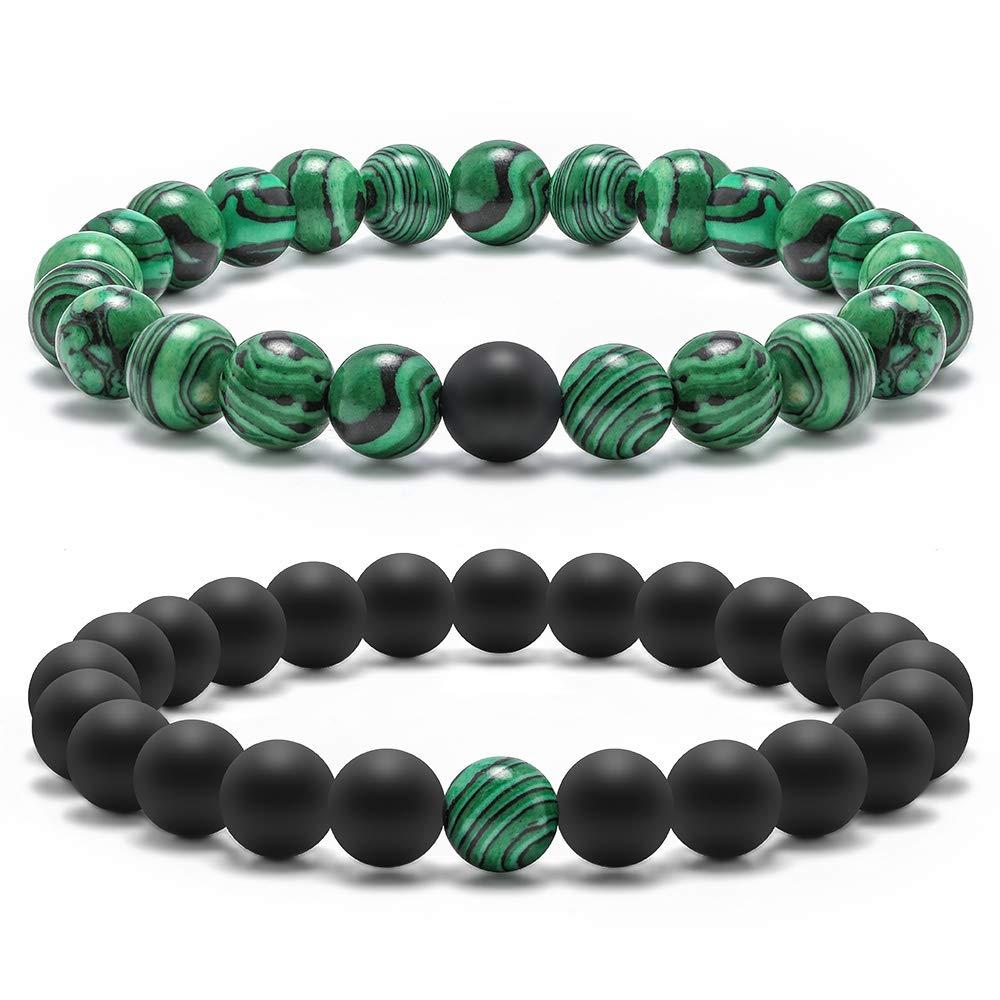 Natural Stone Beads Bracelet, 8mm Natural Malachite Stones and Black Matte AgateBeads Bracelet, Men Women Stress Relief Yoga Beads Elastic Bracelet Energy Stone Gemstone Beads Bracelet ( 2 Pack)