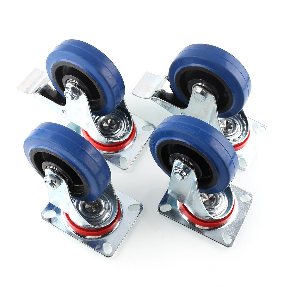 MVPower 4 Pack 4'' Swivel Caster Wheels Dust Cover Rubber Heavy Duty Castors with 360 Degree Top Plate(4 inch with brake,Blue)
