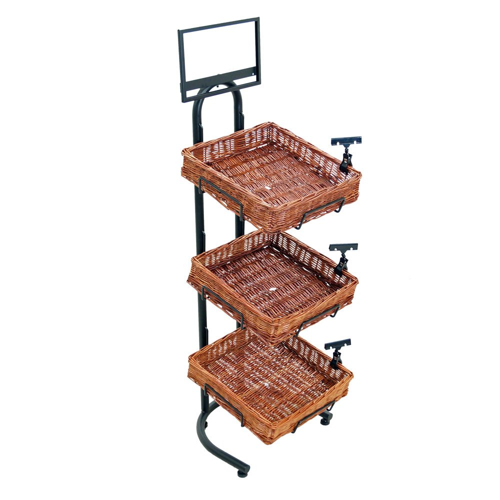 3-Tier 3 Square Willow Basket Display with Sign Frame and Sign Clips