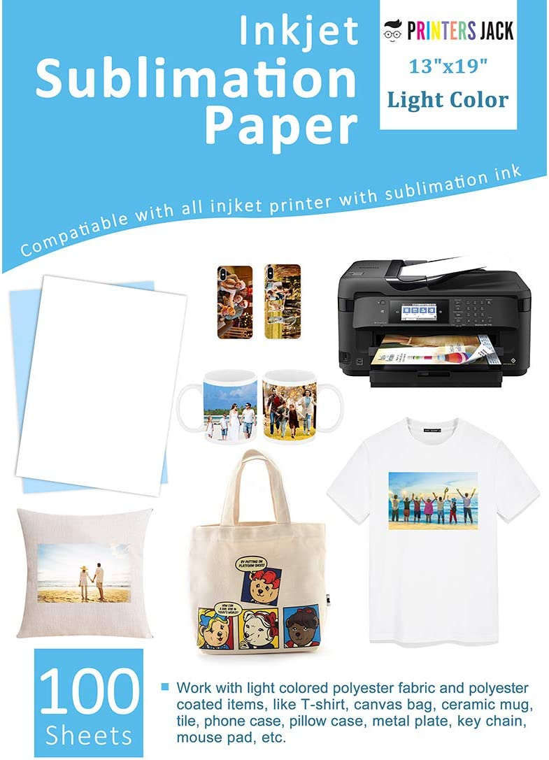 "Sublimation Paper 100 Sheets 13"" x 19"" for Any Epson HP Canon Sawgrass Inkjet Printer with Sublimation Ink for T-shirt, Ceramic, Mouse Pad, Towel DIY Unique Gifts"