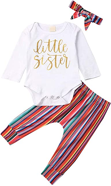 Headband Clothes Set Rainbow Striped Pants Newborn Infant Baby Boy Girl Outfits Long Sleeve Letter Print Romper