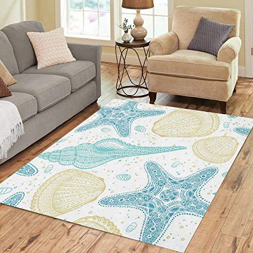 Semtomn Area Rug 5' X 7' Beige Marine Pattern Sea Shells and Stars Highly Detailed Home Decor Collection Floor Rugs Carpet for Living Room Bedroom Dining Room