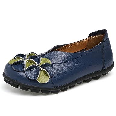 Nuevas Mujeres Zapatos de Flores de Cuero Real Mocasines de la Madre Ocio Suave Pisos de Conducción Femenina Calzado Casual Zapato Barco Sólido: Amazon.es: ...