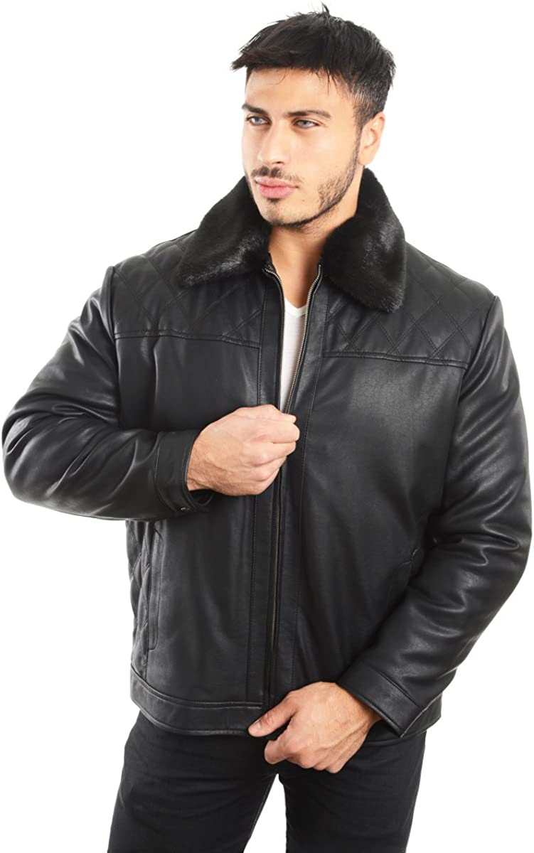 REED Mens Smooth Lamb Touch Faux Leather Detachable Fur Collar Classic Jacket