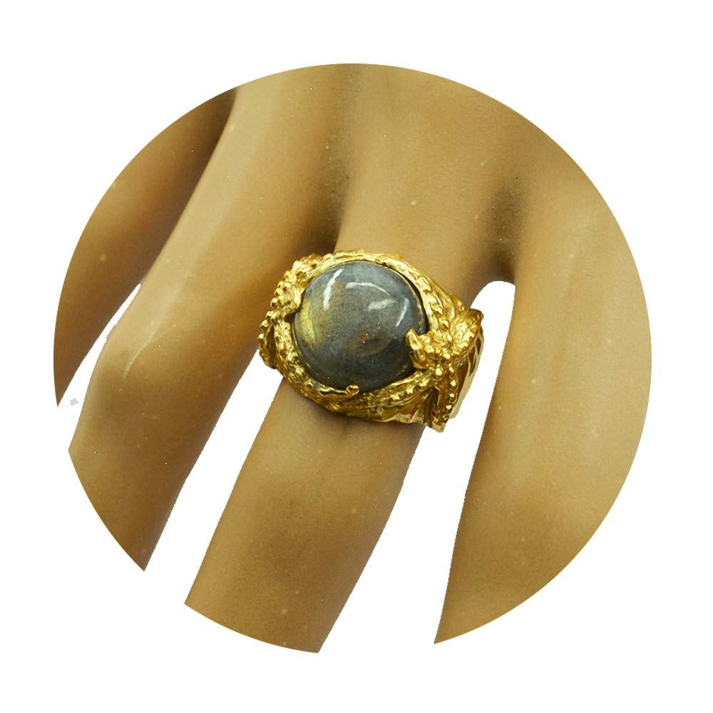 Jewelryonclick Natural Gold Plated Labradorite Wedding Ring for Women Gift Jewelry Size 5,7,8,9,10,11,12