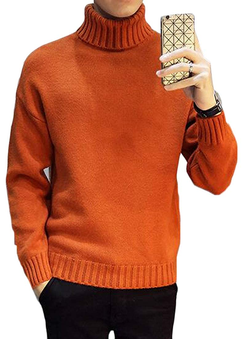 YYG Mens Slim Fit Knit Solid Casual Turtleneck Pullover Sweater Jumper