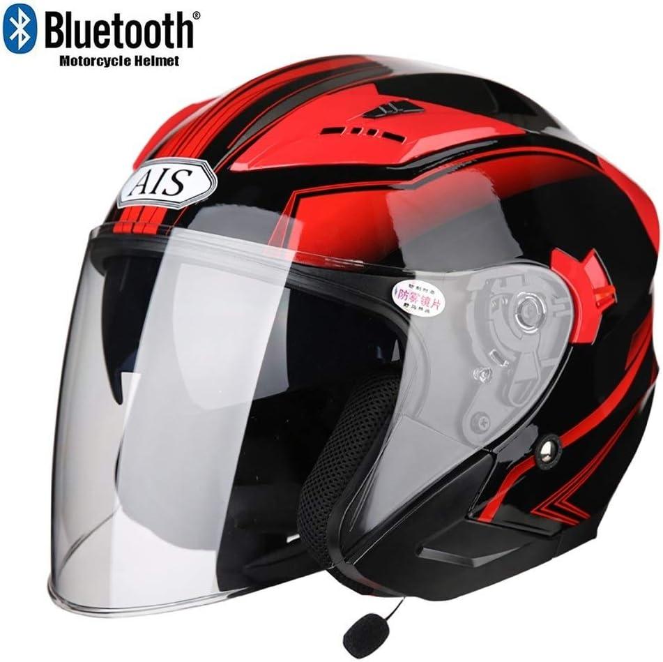 Hard Hat Bluetooth Motorrad Jethelme,ECE Zertifiziert Motorradhelm mit Anti-Fog Doppelvisier Jet-Helm Roller-Helm Scooter-Helm Mofa-Helm Bobber Racing Locomotive Chopper Crash GJX