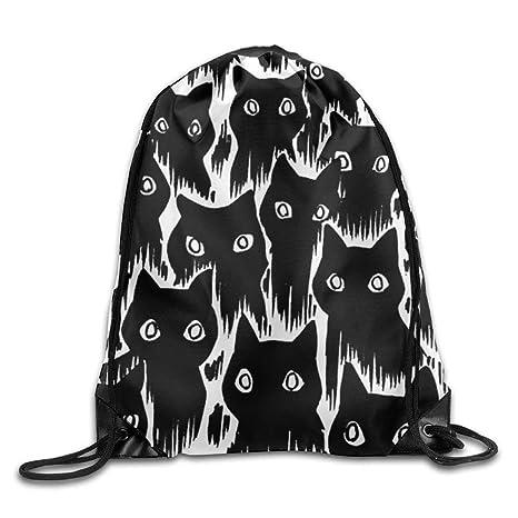 Feamo Mochila Negra con cordón para Gato, para Entrenamiento, Gimnasio, para Hombre y