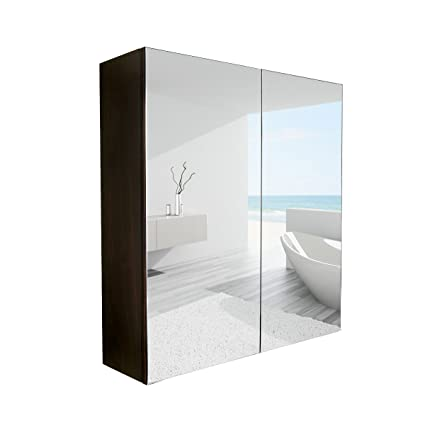 PULUOMIS 24 Inches Wide Wall Mount Mirrored Bathroom Medicine Cabinet  Storage, 2 Mirror Door,