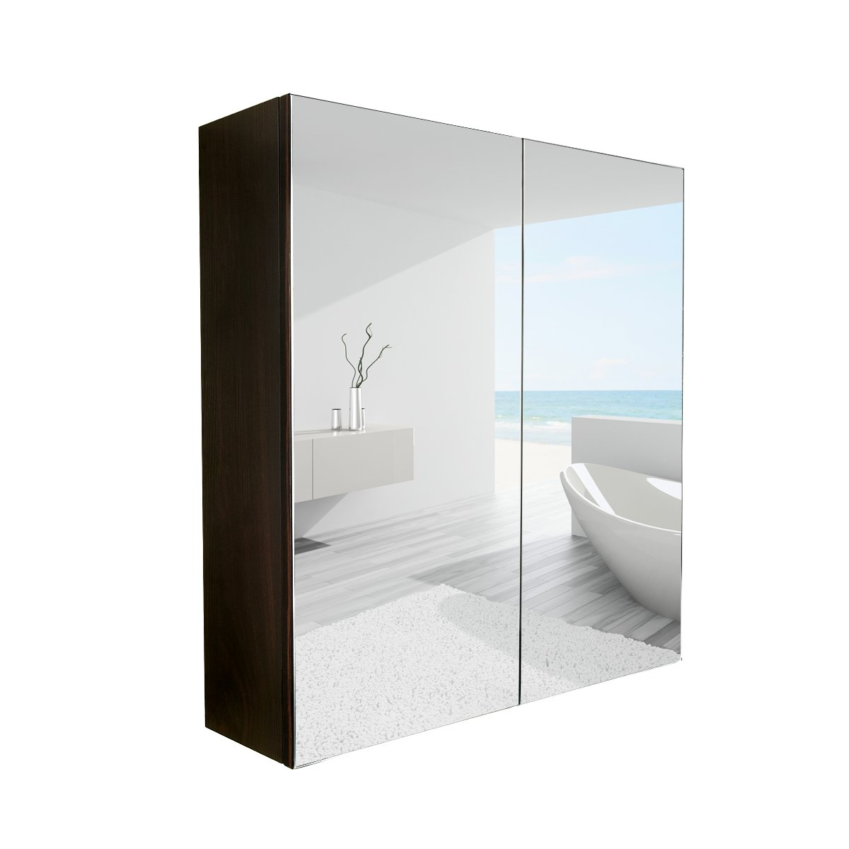 PULUOMIS 24 Inches Wide Wall Mount Mirrored Bathroom Medicine Cabinet Storage, 2 Mirror Door, Frameless Wall Mirror, Vanity Mirror, Restroom Mirror by PULUOMIS