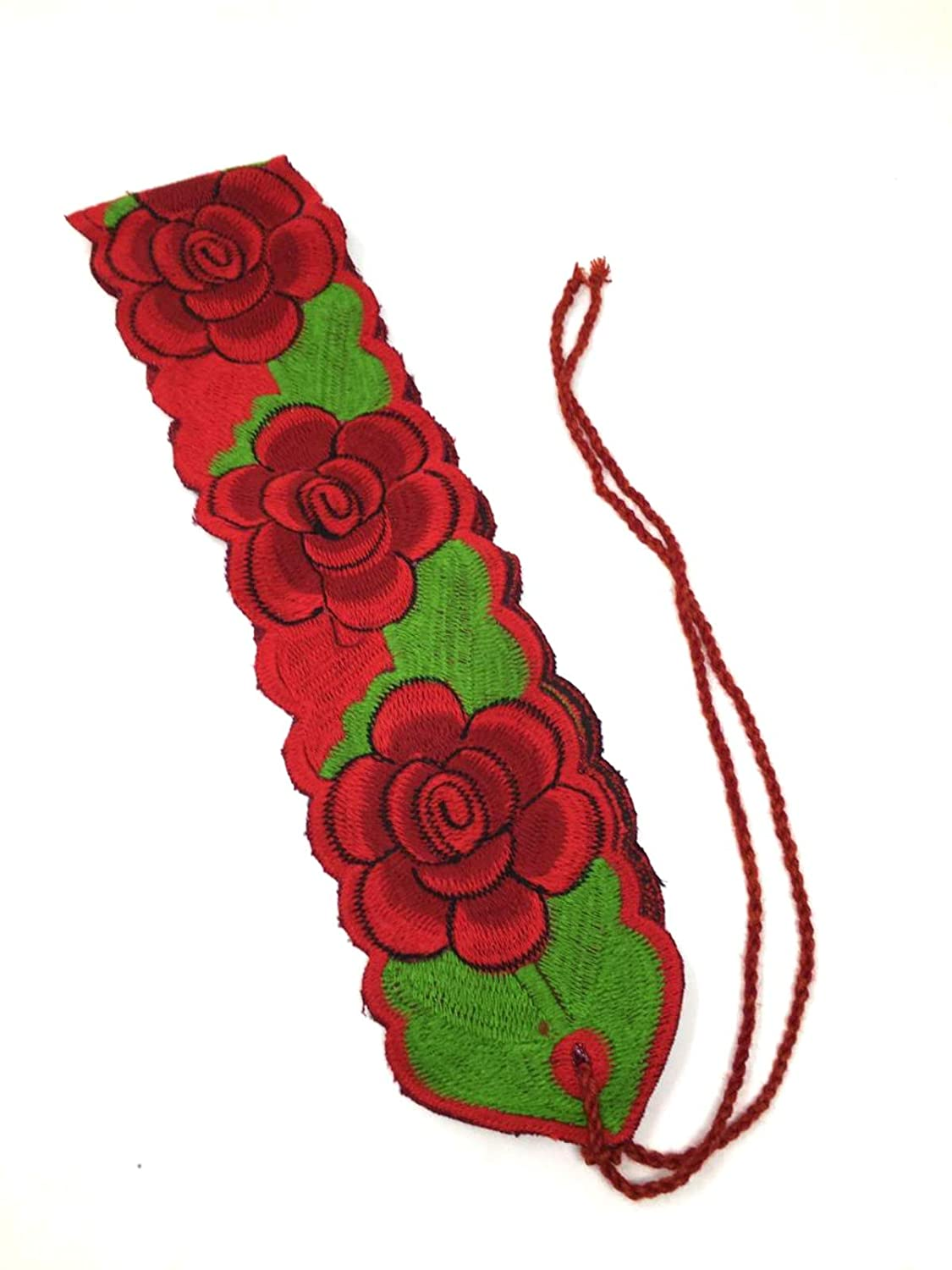 Traditional Handmade Colorful Red Floral Mexican Belt Sash Tie - DeluxeAdultCostumes.com
