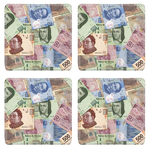 Liili Natural Rubber Square Coasters IMAGE ID: 10849582 Mexican Peso bills scattered (Pesos Bill)