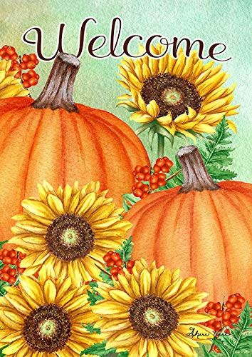 Toland Home Garden 1012208 Pumpkins and Sunflowers 28 x 40 inch Decorative, Fall Autumn Welcome, House Flag by Toland Home Garden