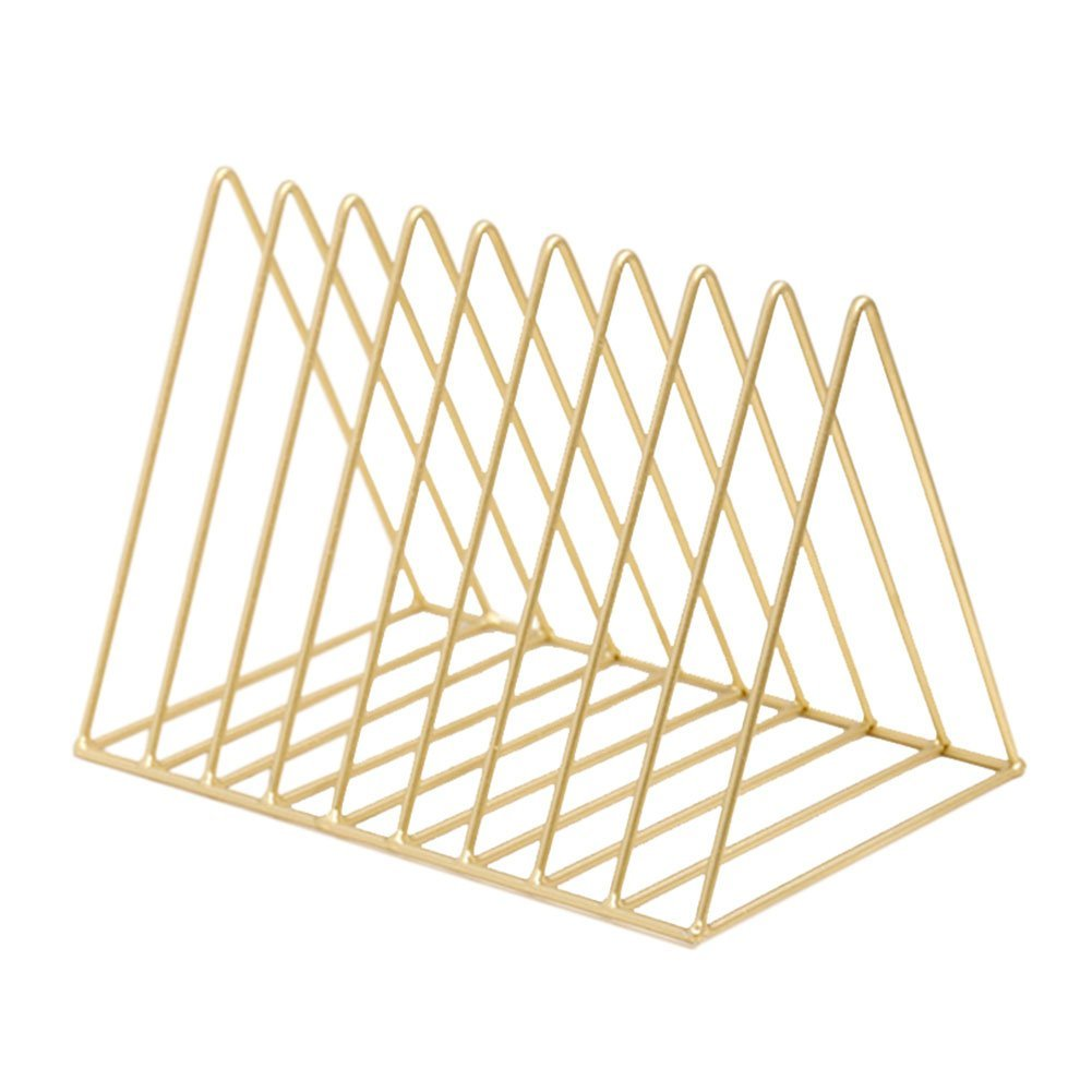 Heatleper Heavy Duty Metal Triangle Shape Newspaper Magazine Holder, Document File Stand Book Rack Organizer for Office School Home (Gold)