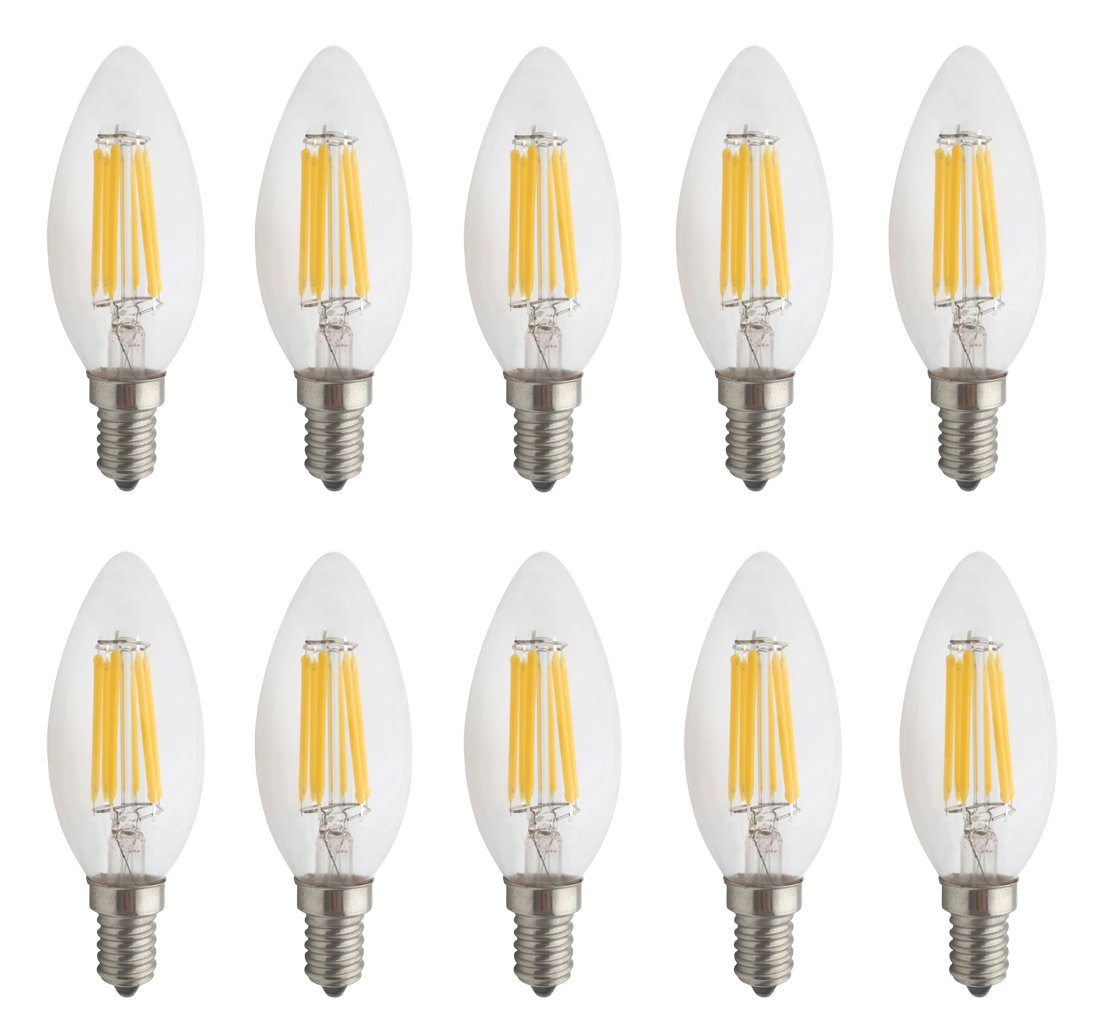 JCKing Pack of 10 AC 110V-130V 6W E14 Dimmable LED Filament Bulbs Candle tip LED Light Bulb, LED Vintage Antique Chandelier Light Warm White 2700K