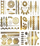 Terra Tattoos Temporary Henna Metallic Tattoos - Over 75 Mandala Gold Tattoos