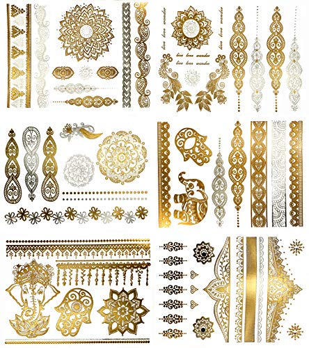Temporary Henna Inspired Metallic Tattoos - Over 75 Boho Mandala Designs in Gold and Silver (6 Sheets) Terra Tattoos Jasmine Collection -