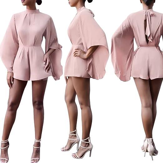 513f8e629c4 Amazon.com  Bodycon4U Womens Sexy V Neck Cap Sleeve Chiffon Short Romper  Dress Jumpsuit  Clothing