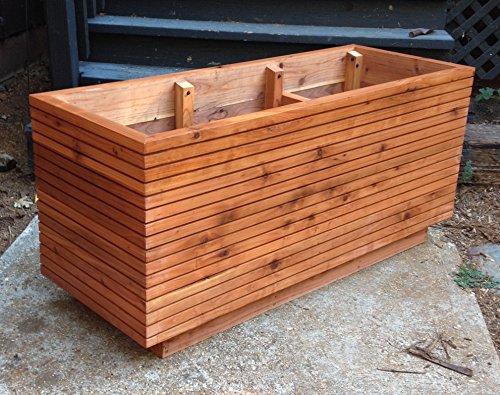 Tall Modern Redwood Planter Boxes, Free Shipping, 10 - 50 Gallon, Custom Wood Planter Box, Solid Redwood, Deck Planter Box, MCM, Atomic Age.