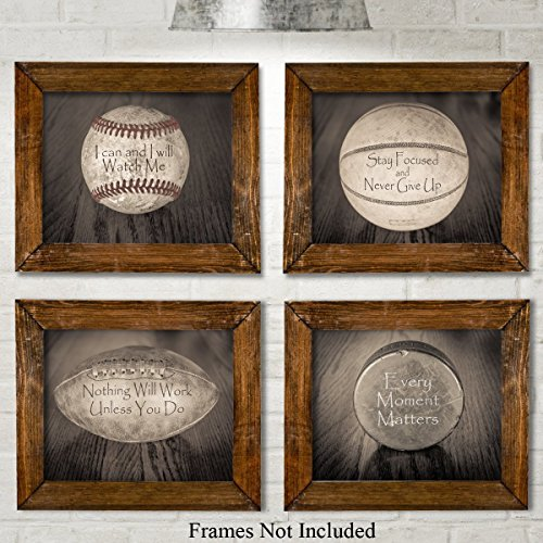 Inspirational Sports Quotes Prints - Set of Four Photos (8x10) Unframed - Great Gift for Boy's Room (Boys Room Wall Decor)