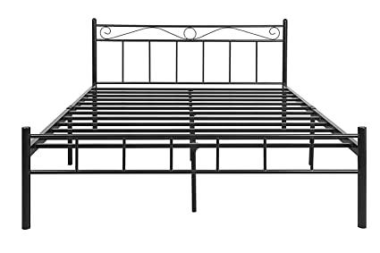 FurnitureKraft London Queen Size Metal Bed  Glossy Finish, Black  Beds