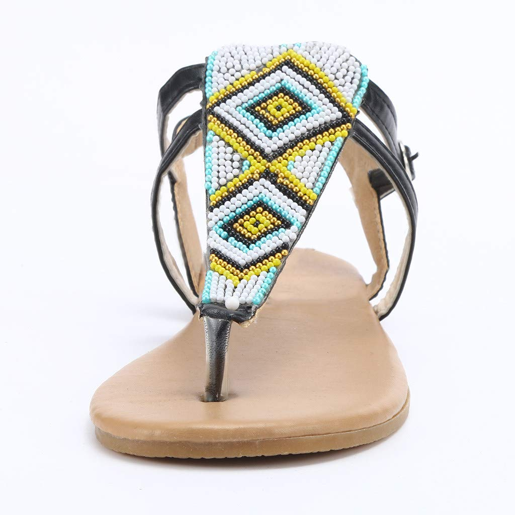 GIANTHONG AMUSTER Womens Thong Flat Sandals with Buckle Bohemian Flip Flop Platform Sandals Strappy T Strap Thong Beach Shoes