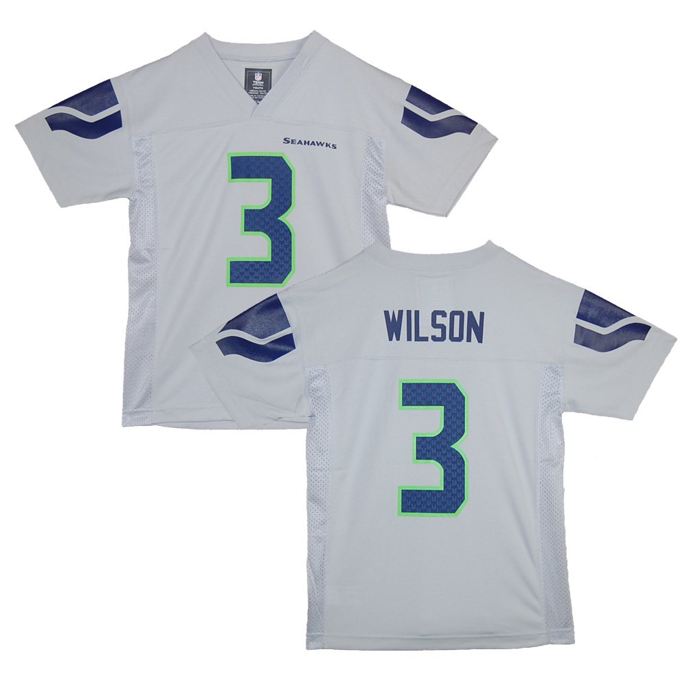 6d16211c Outerstuff Seattle Seahawks Russell Wilson Gray Youth NFL Jersey