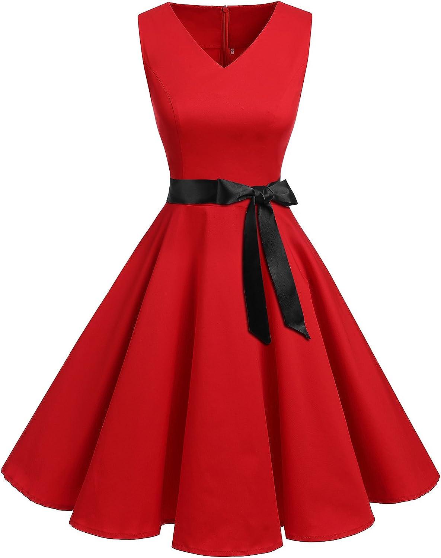 TALLA 3XL. Bridesmay Vestido de Cóctel Fiesta Mujer Verano Años 50 Vintage Rockabilly Sin Mangas Pin Up Rojo 3XL