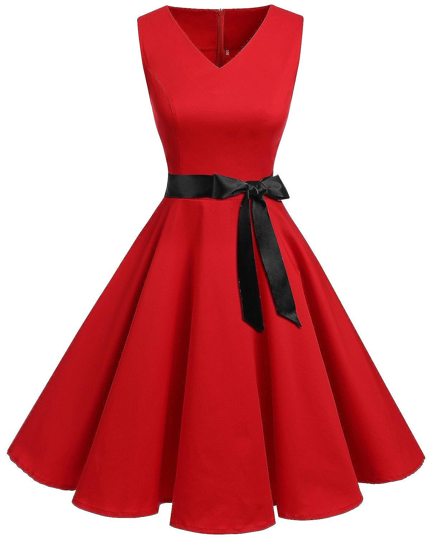 TALLA XXL. Bridesmay Vestido de Cóctel Fiesta Mujer Verano Años 50 Vintage Rockabilly Sin Mangas Pin Up Rojo XXL